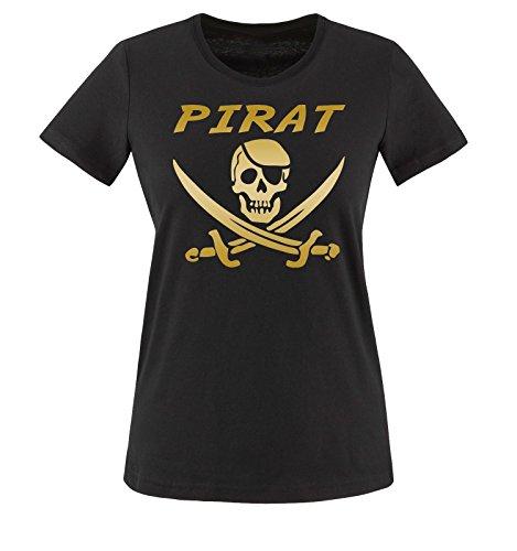 Comedy Shirts - PIRAT KOSTÜM -Damen T-Shirt Schwarz/Gold Gr. - Gold Und Schwarz Piratenkostüm