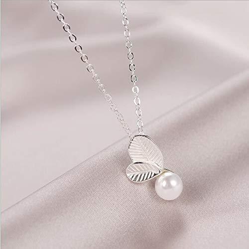 TLLAMG Halskette Persönlichkeit Großhandel Blatt Perle 925 Sterling Silber Schmuck Weibliche Schlüsselbein Kette Anhänger Halskette