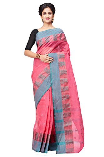 Slice Of Bengal Light Weight Broad Border Cotton Handloom Taant Tangail Saree-Pink
