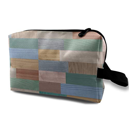 Makeup Bag Portable Travel Cosmetic Bag Color Washed Wood Mini Makeup Pouch for Women Girls Vintage Washed Mesh