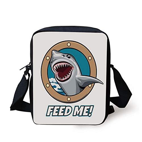 Sea Animal Decor,Funny Vintage Quote with Hungry Hound Shark Head in Ship Window Humor Print,Multi Print Kids Crossbody Messenger Bag Purse