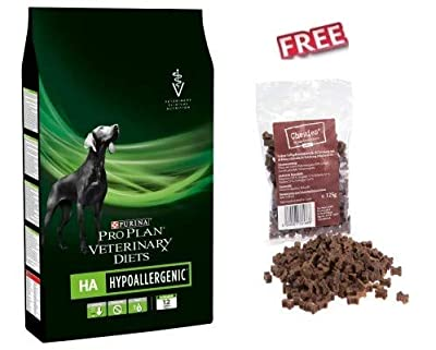 Purina Pro Plan Veterinary Diets Canine HA Hypoallergenic 11kg Dry Food for Dog with Food Allergy Made with Single Hydrolysed Protein & Purified Carbohydrates FREE Chewies Mini Bone Treats 125g from Purina