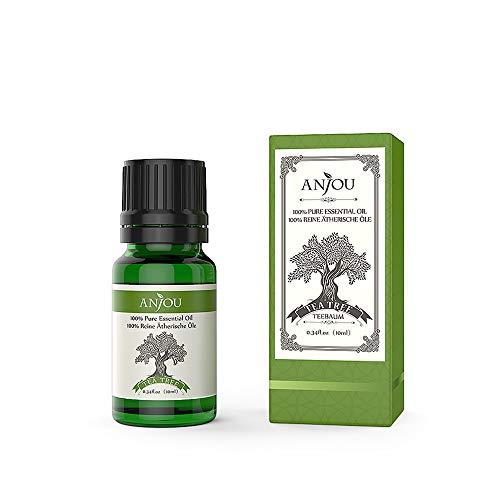 Anjou Ätherisches Teebaumöl, 100% Reines Aromatherapie Ätherisches Öl für Diffuser, Massage, Spa, Haut & Haar Pflege, 10 ml