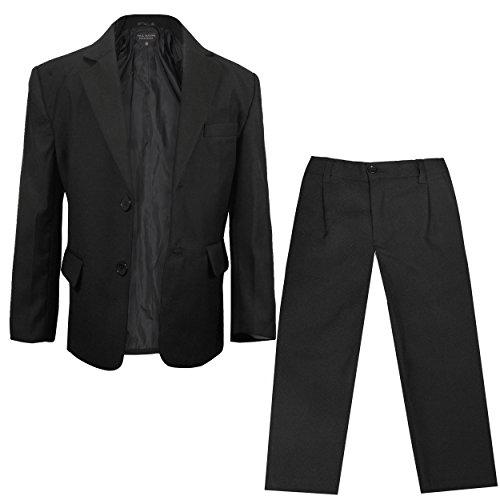 Paul Malone - Festlicher Jungen Anzug für Kinder Sakko + Hose (tailliert) schwarz/Hochzeit Kommunion Taufe Konfirmation 10