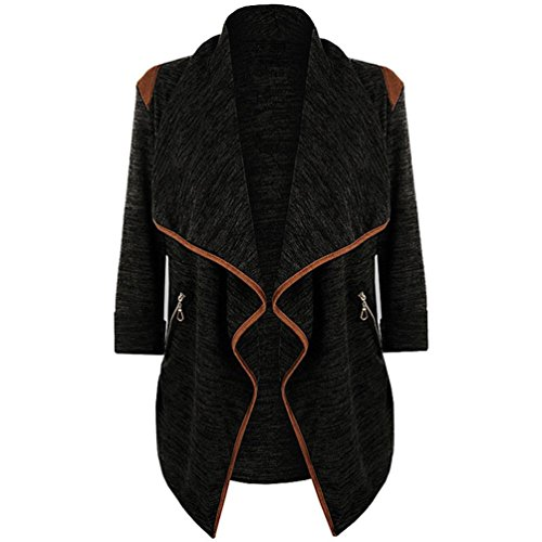 FORH Vintage Kleidung Frauen Gestrickt Cardigan warm winter Long Sleeve Strickjacke Irregulär Knit-sweater Outwear Tops Straße Mode Windbreaker Jacke Plus Größe (M, Schwarz  )