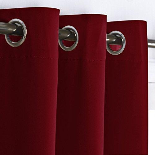 PONY DANCE Cortinas Rojas Opacas con Ollaos - Telas Gruesas Suaves Estilo Moderno Elegante Proteccion Intimidad/Drapeados Mosquiteras para Habitacion Chica Matrimonio, 2 Uds, 140 x 240 cm (An x L)