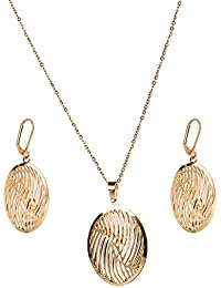 IGP Gold Plated Oval Shape Jaali Work Stainless Steel Fashion Pendant Set With Clip On Dangler Earrings For Women...