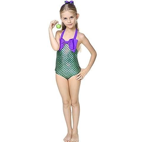 Little Girls Mermaid Princess Swimmable Bikini Set One Piece