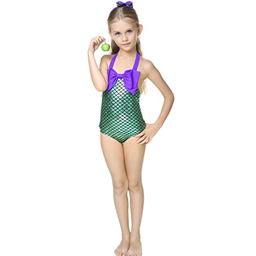 (Little Girls Mermaid Princess Swimmable Bikini Set One Piece Swimsuit+Headband)