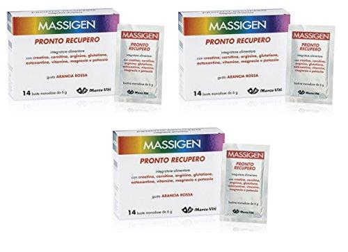 3 MASSIGEN PRONTO RECUPERO 14 BST MAGNESIO E POTASSIO Integratore Alimentare combatte l'affaticamento senza glutine, lattosio, coloranti
