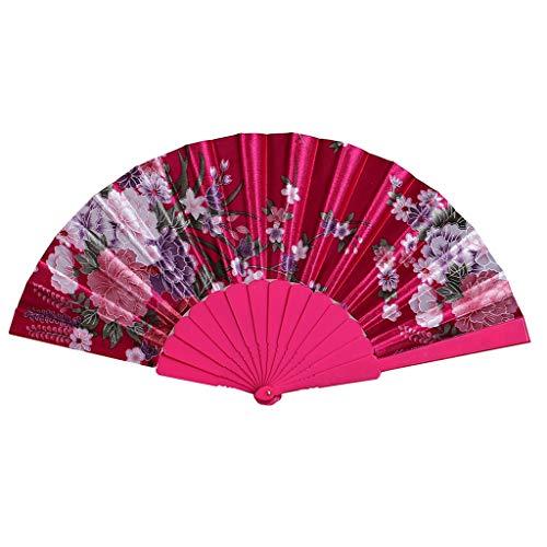 MOTOCO Damen Faltfächer Blumenmuster Seidenfächer Handfächer Eleganter Tanzfächer Hochzeitsdekoration (Crusher Kostüm)