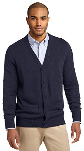 Port Authority® Value V-Neck Cardigan Sweater with Pockets. SW302 Navy XL -
