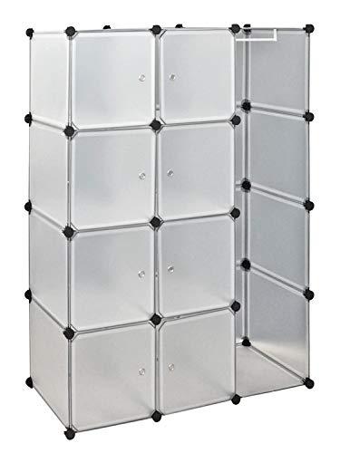 ts-ideen Kleiderschrank Garderoben Flur Dielen Schrank Badschrank Kinderschrank mit 8 transparenten weißen Türen und 1 Kleiderstange