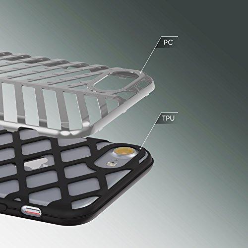 Urcover® Apple iPhone 7 / 8 Schutzhülle Sword Series Back-Cas Cover Gitter Schale Smartphone Schwarz / Schwarz Schwarz / Silber