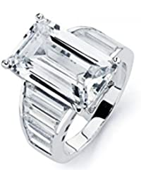 Bague mariée argent sterling plaqué rhodium zirconium transparents rectangle