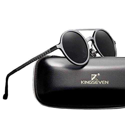 Kingseven Retro Steampunk Carbon Stil Sonnenbrille, UV400, Polarisiert, HD Vision, Outdoor, Sommer, Sport, Trekking, Reisen, Auto