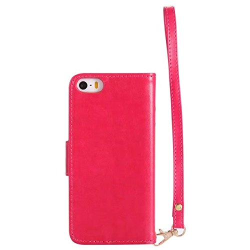 Migliore Choise Flip Case per iPhone e 5S & SE Luminous Girl Pelle goffrata Cover Folio Stand Portafoglio Shell Lanyard in foto frame regalo perfetto Rose-red