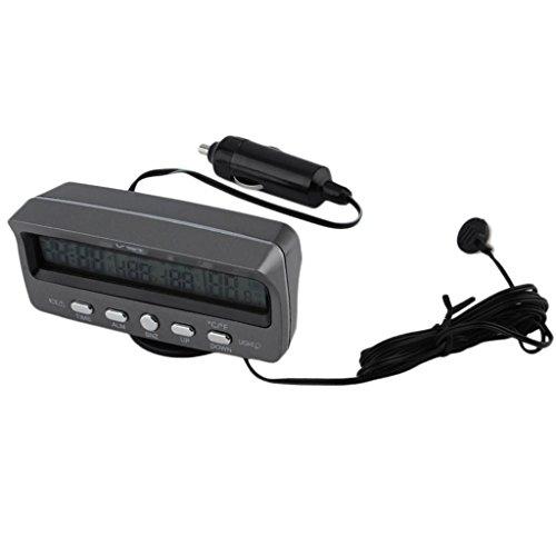 Sharplace 12V Digital LCD Innen Außen Thermometer Temperaturmesser Spannungstester Voltmeter Auto Uhr