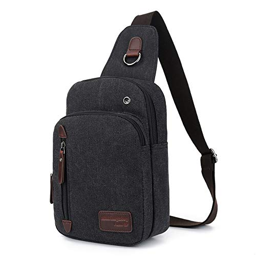 Sling Rucksack Brusttasche Canvas Schulterrucksack Umhängetasche Crossbag für Damen und Herren Daypack Perfekt für Outdoorsport, Wandern, Radfahren, Bergsteigen, Reisen -