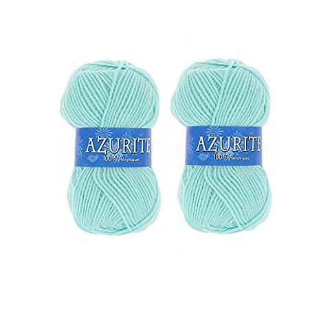 Lot 2 Pelotes de laine Azurite 100% Acrylique Tricot Crochet