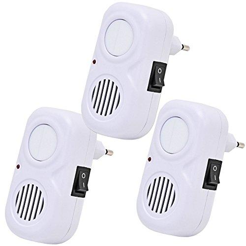 Lot de 3 VOSS.sonic 500 glow, répulsifs souris, nuisibles et insectes à ultrasons avec veilleuse