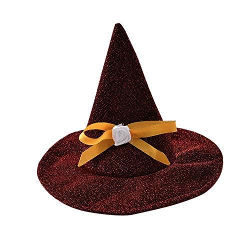 Leezo Halloween Pet Pointed Hüte mit Bogen Knoten für Kleine und mittlere Hunde, Urlaub Festival Cat Puppies Wizard Hüte Weihnachten Cosplay Kostüm Zubehör Party Supplies