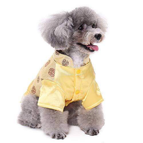 PapiPet Schwarzes&Gold Hunde Tang-Anzug für den Winter, China -