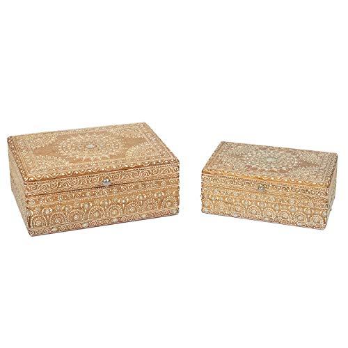2 Orientalische Schmuck-Schatullen handbemalte Schatzkisten aus Holz mit Steinen verziert Schmucktruhen | Ideale Geschenk für die Freundin oder Frau | Schmuckschatullen PADMINI im 2er Set