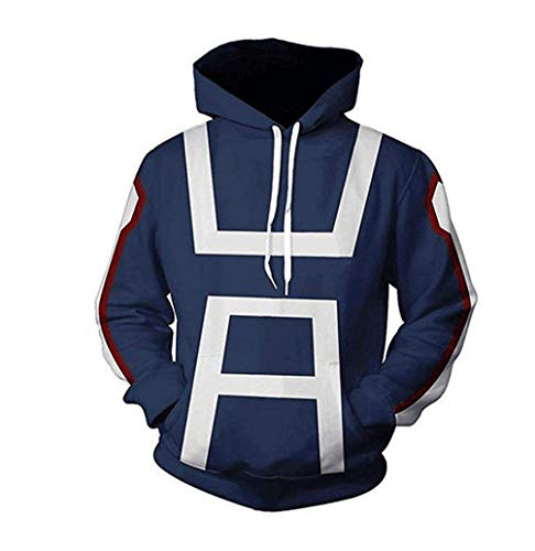Qian Qian Hero School Blau Hoodie Jacke Sweatshirt Cosplay Kapuzenpullover Halloween Kostüm Coat T-Shirt (XS, Blau 2)