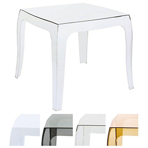 Clp tavolino moderno da salotto in polipropilene queen | tavolino da appoggio quadrato da esterno | tavolino soggiorno in plastica robusta | tavolino da giardino trasparente