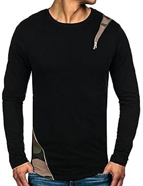 BOLF – Fepla – Sweat-shirt – Pullover – Manica lunga – Motivo – Zip – Classic – Uomo – 1A1