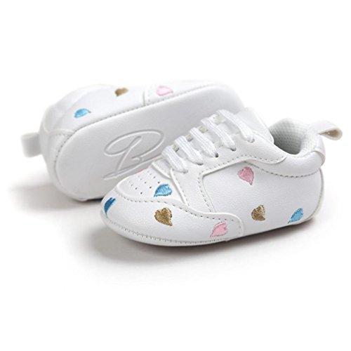 Babyschuhe Longra Baby Mädchen Jungen Stickerei Liebe Form Verband weichen Sohle Schuhe Sneakers Casual Schuhe Lauflernschuhe Krippeschuhe (0 ~ 18 Monate) E