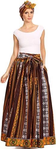 Sakkas Asma Convertible Traditionelle Wachsdruck verstellbaren Riemen Maxirock | Kleid 504-Burgund