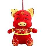Nouvel an Chinois Porc Ornement Décorations Année du Festival de Cochon Décoration Bonne Chance en Peluche Cochon Animal en Peluche Étagère de Table Décor Home Figurines (10 Pouces Style D, 1)