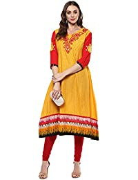 Rama Embroidered Yellow & Red Cotton Long Anarkali Kurta