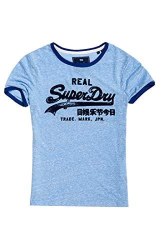 Superdry Damen Vintage Logo Retro Ringer ENTR T-Shirt, Blau (Cruz Blue Snowy L2R), L (Herstellergröße: 14) -