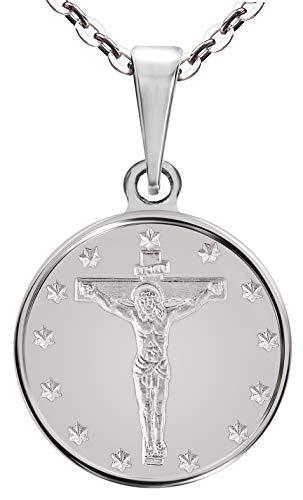 Halskette mit Anhänger Kreuz Jesu Sterling-Silber 925 16 mm