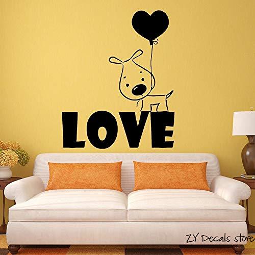 Puppy Love Dog Wandtattoos Ballon Romantische Geschenk Vinyl Wand S Abnehmbare Kunstwandhaupt Decortion Haustiere Hunde Tapete 56 * 68 cm
