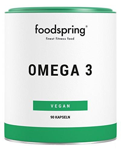 foodspring Omega 3 Kapseln, 90 Stück, Vegane Power für Herz und Gehirn, Hergestellt in zertifizierten Produktionen in Deutschland