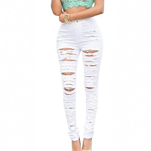 Aelegant Femme Pantalon Taille Haute Jeans Trous Denim Jeans