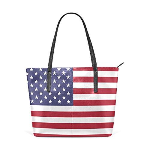 United Vertical Flag (COOSUN Vertical United States Flag PU Leder Schultertasche Handtasche und Handtaschen Tasche für Frauen)