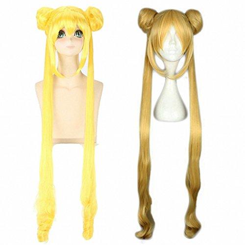 Pelucas largas para cosplay Ani·Lnc, color amarillo y dorado
