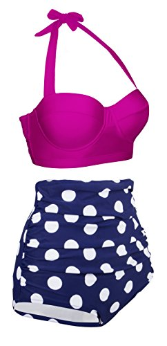 Angerella Damen Retro Stil Polka-Punkt mit hoher Taille Badeanzug Bikini Set(BKI032-R2-XL) -