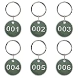 Aluminium Legierung Metall Key Tag Set, Anzahl ID-Tags Kette, nummeriert Key Ringe, 50Stück 1 to 50 grün