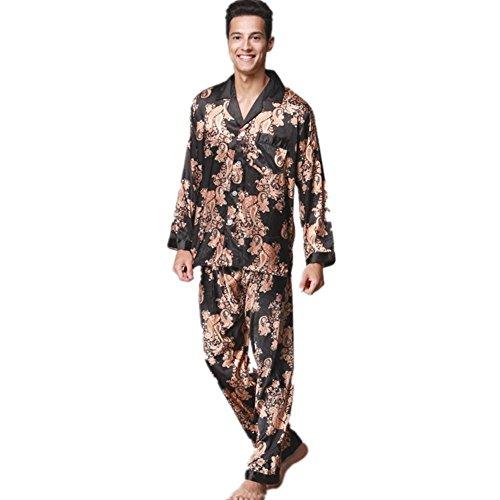GJX Uomini estate raso seta pigiama PJs Set , black , xl
