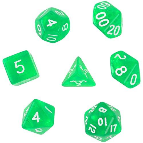 7pcs D4 D6 D8 D10 D12 D20 Juguete de Dados para Mazmorras Y Dragones Juego - Verde