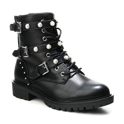 HERIXO Damen Schuhe Stiefeletten Schnallen Verzierung Perlen Nieten Flache Reissverschluss halbhoche Schnürboots Schnürer Military Boots (37 EU, A-Schwarz)