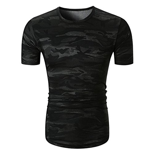 g star camouflage VEMOW Sommer Männer Täglich Outdoors Casual Camouflage Print O Hals Pullover Kurzarm T-Shirt Top Bluse Pulli(Schwarz, EU-56 /CN-L)