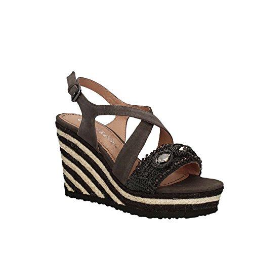 Sandalo Cafè Noir MHG551 incrocio su zeppa corda Asfalto