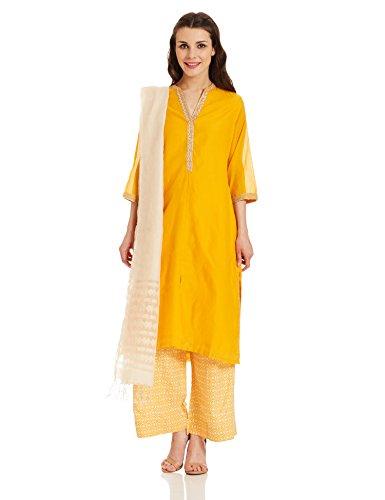 BIBA Women's Angrakha Salwar Suit (SKD4932_yellow_38)